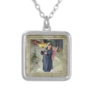 Pretty Angel With Lantern Silver Plated Necklace