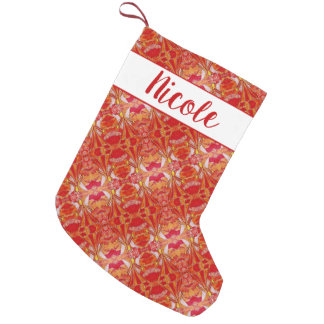 Pretty Angels Orange Red Pattern Custom Name Small Christmas Stocking