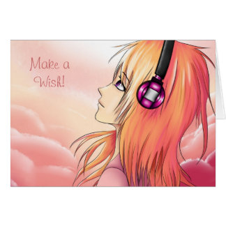Pretty Anime girl at sunset Card