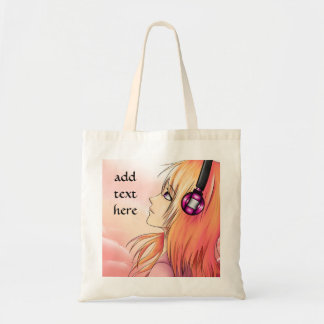 Pretty anime girl listening to music tote bag