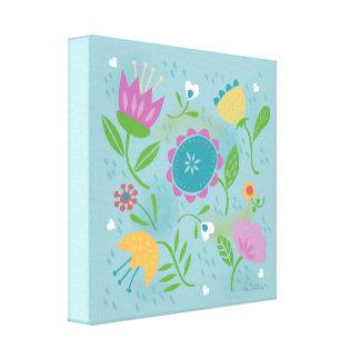Pretty April Showers Pastel Retro Floral Canvas Print
