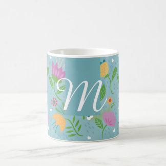 Pretty April Showers Pastel Retro Floral Monogram Coffee Mug