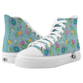 Pretty April Showers Pastel Retro Floral Printed Shoes
