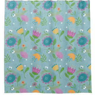 Pretty April Showers Pastel Retro Floral Shower Curtain