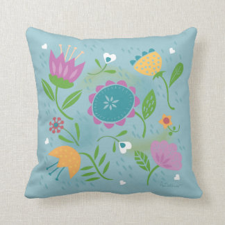 Pretty April Showers Pastel Retro Floral Throw Pillow