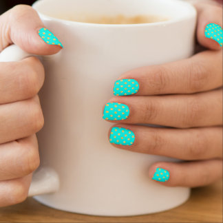 Pretty Aqua and Gold Polka Dots Minx Nail Art