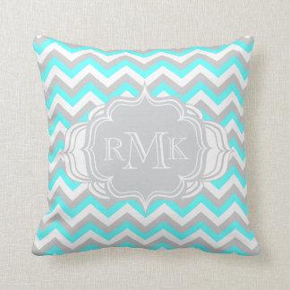 Pretty Aqua and White Girl's Room Chevron Monogram Cushions