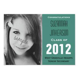 Pretty Aqua Blue Photo Graduation Party Invite