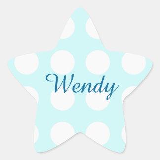 Pretty Aqua Blue with White Polka Dots Star Sticker