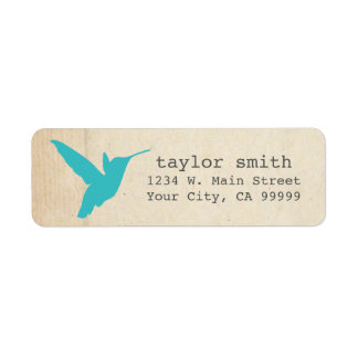 Pretty Aqua Hummingbird Return Address Labels