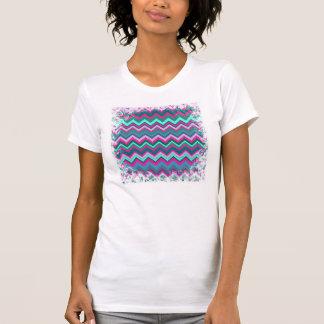 Pretty Aqua Teal Blue Pink Tribal Chevron Zig Zags T-Shirt