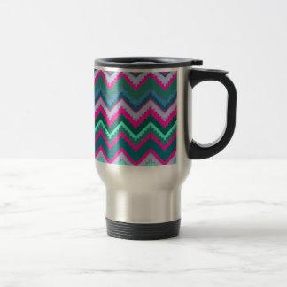 Pretty Aqua Teal Blue Pink Tribal Chevron Zig Zags Travel Mug