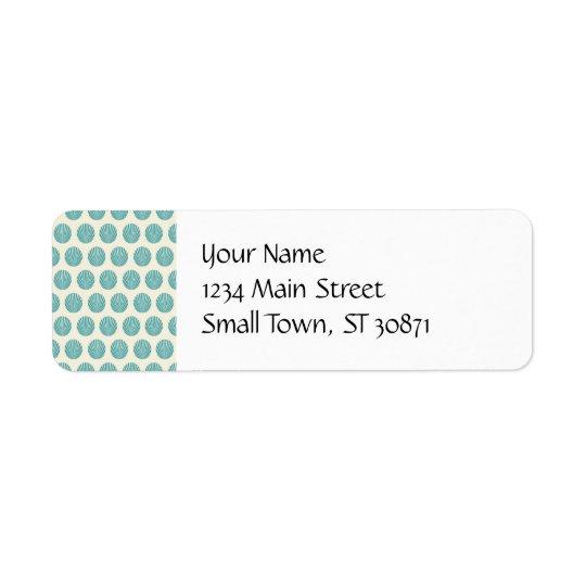 Pretty Aqua Teal Blue Shell Beach Pattern Gifts Return Address Label