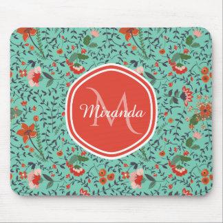 Pretty Aquamarine Orange and Red Floral Monogram Mouse Pad