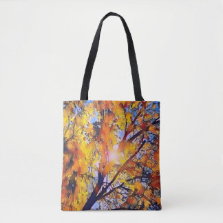 Pretty Artistic Fall Leaves With Sunshine Tote Bag