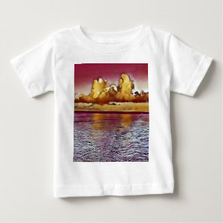 Pretty Artistic Magenta Rose Golden Seascape Baby T-Shirt