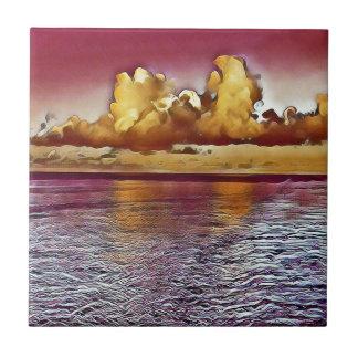 Pretty Artistic Magenta Rose Golden Seascape Ceramic Tile