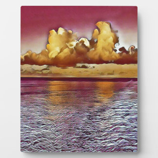 Pretty Artistic Magenta Rose Golden Seascape Plaque