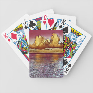 Pretty Artistic Magenta Rose Golden Seascape Poker Deck
