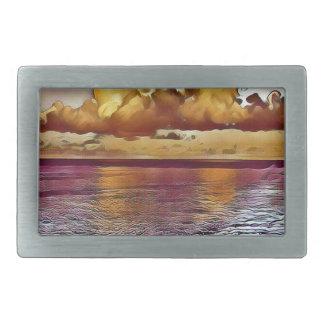 Pretty Artistic Magenta Rose Golden Seascape Rectangular Belt Buckle