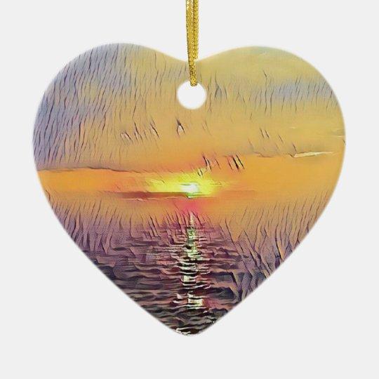 Pretty Artistic Painted Seascape Sunrise Ceramic Ornament