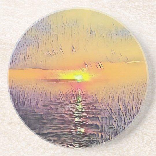 Pretty Artistic Painted Seascape Sunrise Coaster