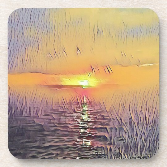 Pretty Artistic Painted Seascape Sunrise Coaster