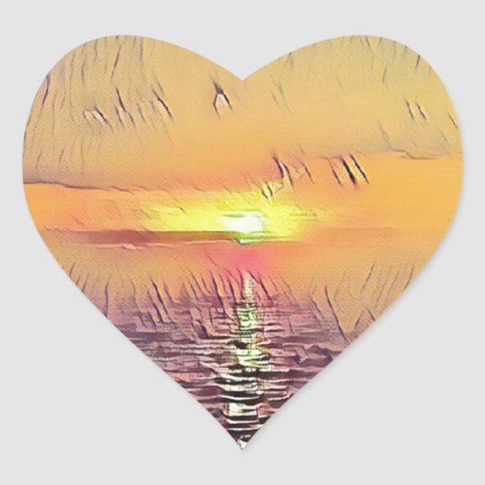 Pretty Artistic Painted Seascape Sunrise Heart Sticker