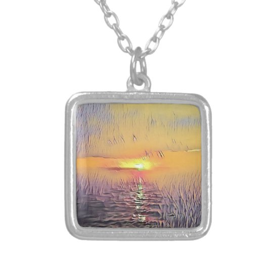 Pretty Artistic Painted Seascape Sunrise Silver Plated Necklace