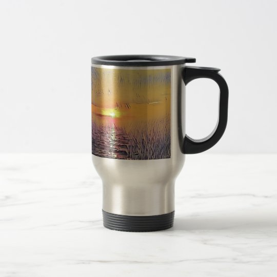 Pretty Artistic Painted Seascape Sunrise Travel Mug