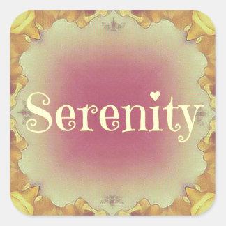 Pretty Artistic Rose Yellow Framed 'Serenity' Square Sticker