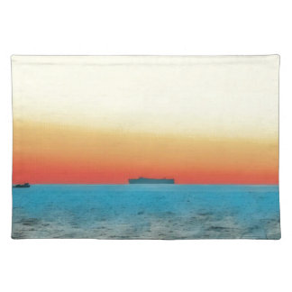 Pretty Artistic Seascape Naval ship Silhouette Placemat