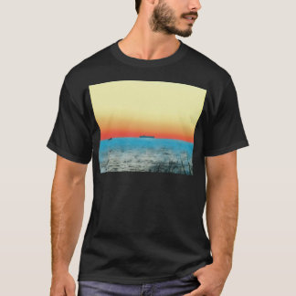 Pretty Artistic Seascape Naval ship Silhouette T-Shirt