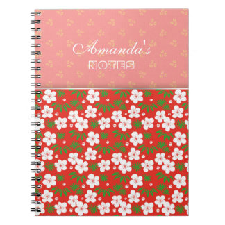 Pretty Asian White Flowers Red Pattern Notes Notebooks