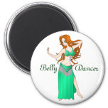 Pretty Auburn Haired Belly Dancer in Green