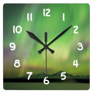 Pretty Aurora Square Wall Clock