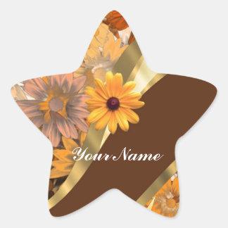 Pretty autumn floral pattern star sticker