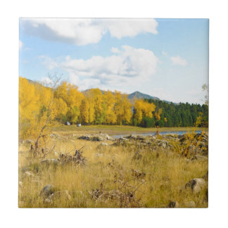 Pretty Autumn Landscape Small Square Tile
