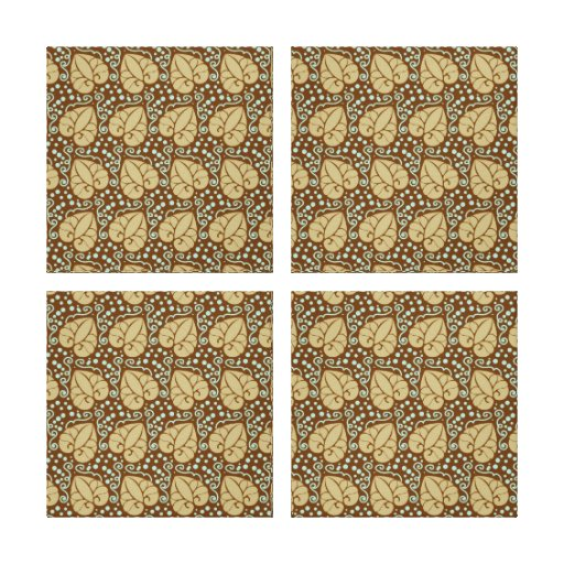 Pretty Autumn Leafs with Scroll Pattern Stretched Canvas Print