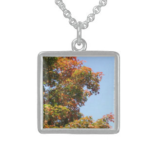 Pretty Autumn Maple Tree Sterling Silver Necklace