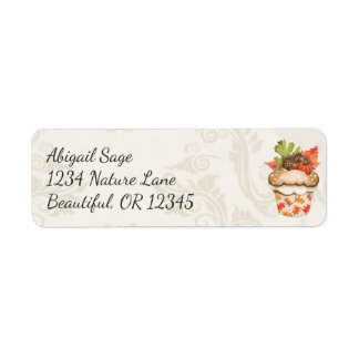 Pretty Autumn Pumpkin and Acorns Cupcake Address Return Address Label