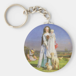 Pretty Baa Lambs by Ford Madox Brown Key Ring