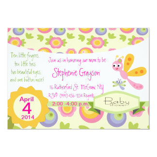 Pretty Baby Dragonfly Shower Invite