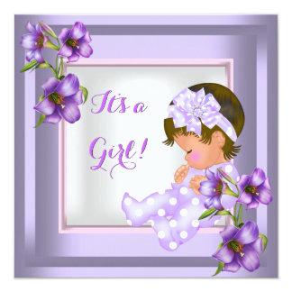 Pretty Baby Shower Cute Baby Girl Purple Floral 5.25x5.25 Square Paper Invitation Card