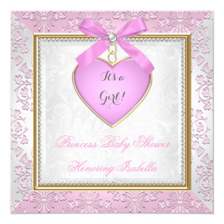 Pretty Baby Shower Girl Damask Pink White 13 Cm X 13 Cm Square Invitation Card