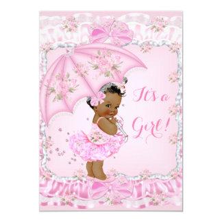 Pretty Baby Shower Girl Floral Pink Ethnic 13 Cm X 18 Cm Invitation Card