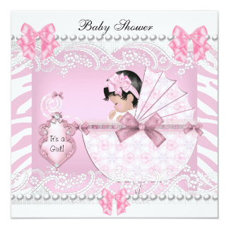Pretty Baby Shower Zebra Baby Girl Pink Lace 13 Cm X 13 Cm Square Invitation Card