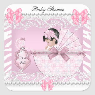 Pretty Baby Shower Zebra Baby Girl Pink Lace Square Sticker