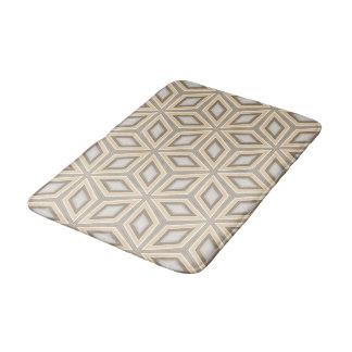 Pretty Beige Brown Geometric Retro Stars Pattern Bath Mat