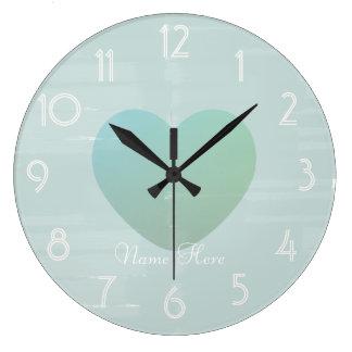 Pretty Big Heart Mint Watercolor Add Name Clock
